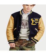 Mens Polo Ralph Lauren Wool Blend Leather Letterman Varsity Jacket Navy ... - $449.99
