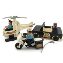 Vtg Husky Helper Toy Lot Police Patrol Squad Car Motorcycle Helicopter P... - $23.73