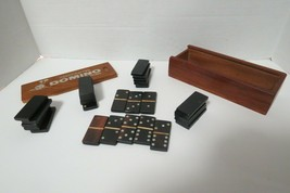 Hand Crafted Wooden Dominoes With Bamboo Spacers 28 Count Custom Storage... - $24.00
