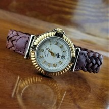 New Vintage Womens Gold POLO Braided Leather Band Watch Beverly Hills Polo - $59.95