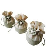 10 Pcs Linen Drawstring Gift Bags Love Bow Organizer Birthday Party Gift... - $3.98