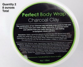 2 Jars of Detoxifying Charcoal Clay Body Wrap 4 oz Cellulite Detox Toning - $10.28