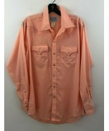 Vtg Rockmount Ranchwear Pearl Snap Button Shirt Mens Medium Peach Wester... - $28.99