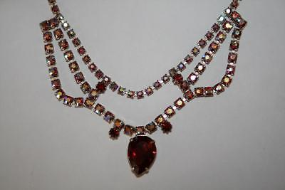 Vintage Unmarked Ruby Aurora Borealis Rhinestone Choker Necklace J275