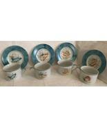 National Wildlife Federation Seashells Cup and Saucer Set of 4 Aqua Blue... - $29.90