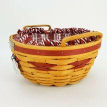 Longaberger 1999 Christmas Popcorn Basket w Protector & Red White Liner 15156 image 4
