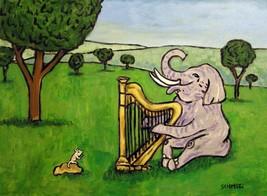 ELEPHANT art PRINT poster gift JSCHMETZ modern folk harp 11x14 - $23.99
