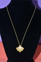AVON Gold Tone Jeweled Shell Pendant Statement Chain Necklace Layering Jewelry - $9.47