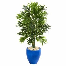 Luxury Multicolor 4' Areca Palm Artificial Tree in Glazed Blue Planter - 4 Ft. - $238.99