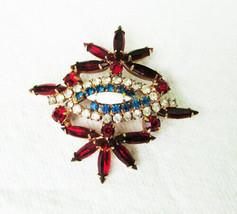 Vintage red white blue pronged rhinestone pin gold tone setting nice - $27.23