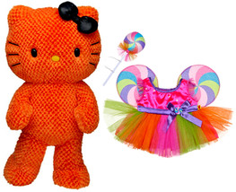 "Build a Bear Orange Hello Kitty Halloween Lollipop Candy Costume 18"" Plu... - $134.99"