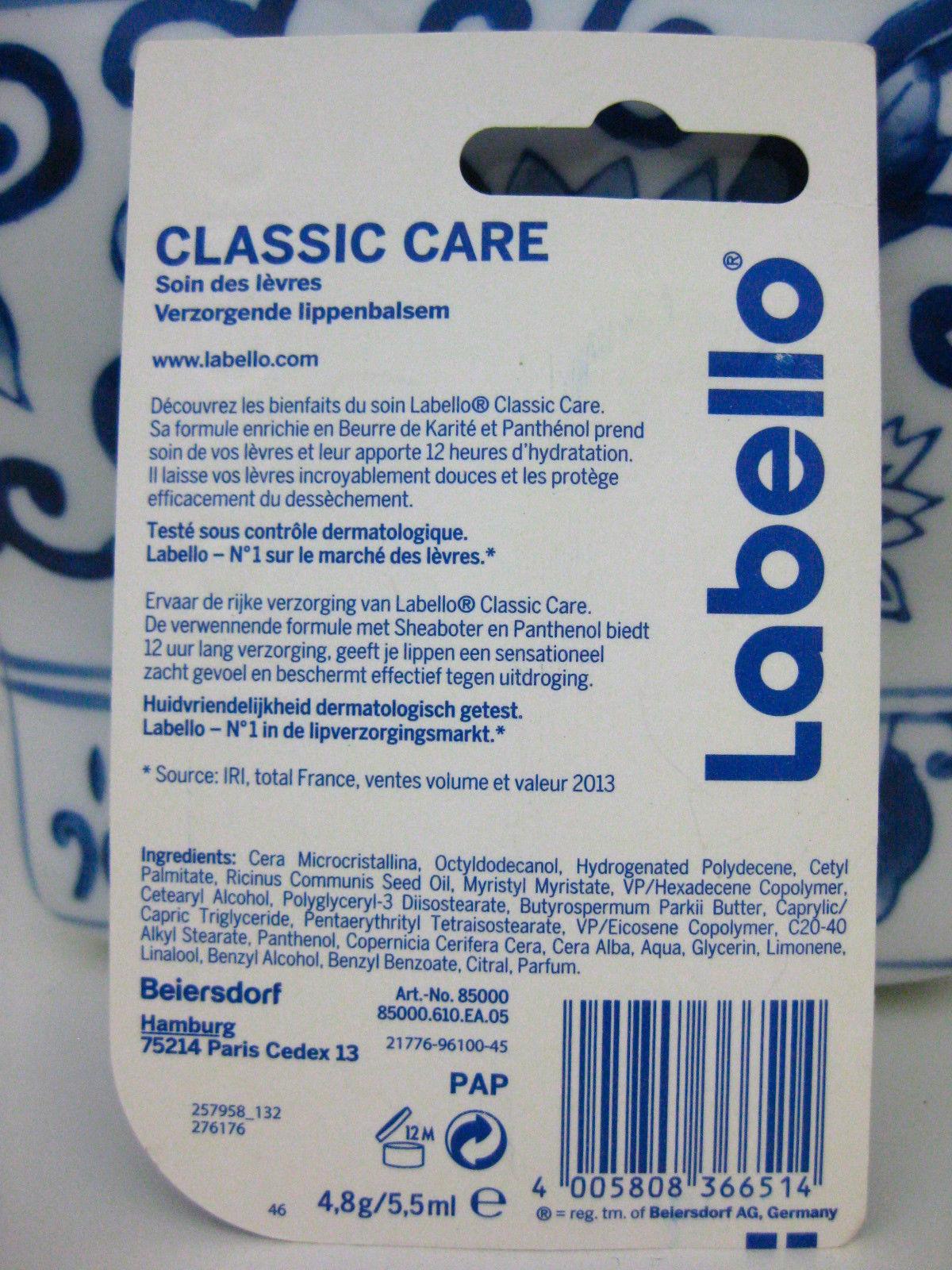 LABELLO Lip Balm Original Classic Care 12h Stick German Import Made In Germany
