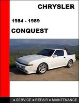 CHRYSLER CONQUEST 1984 - 1989 FACTORY SERVICE REPAIR WORKSHOP MAINTENANC... - $14.95