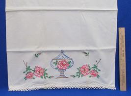 Vintage Pillowcase Embroidered Floral Flower Pink Rose & Vase Urn Crocheted - $9.49