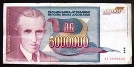 Yugoslavia 5.000.000 dinars with Nikola Tesla 1993 - $1.28