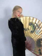 Antique vintage 1930's long black velvet dress Hollywood Glamour medium ... - $138.02