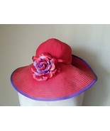 Red Floppy Hat By SanHat Diego Co w/ Pin and Removable Red Purple Flower  - $23.57