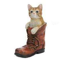 Tabby Cat in Old Worn Boot Garden Decor Figurine - $36.49