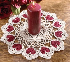 Y932 Crochet PATTERN ONLY Romantic Hearts Candle Doily Pattern Valentine - $8.50
