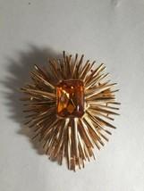 Vintage Signed Gold Tone Sunburst Brooch Pin Mid-Century - $11.05