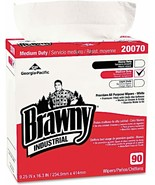 "Brawny Industrial Medium-Duty Premium Wipes, 9 1/4"" x 16 3/8"", White, Bo... - $28.40"