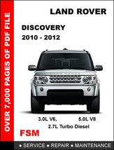 Land Rover Discovery 4 Lr4 2010 2011 2012 Factory Service Maintenance Manual - $14.95
