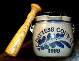 1999 Daviess County Westerwald Pottery/Stoneware Bowl with handles and  Wood Pes image 2