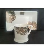 Nicole Miller Small Serving Platter Plate Metallic Floral Silver Gold Pr... - $24.74