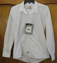 Dickies Womens Workwear Sz XS Uniform Button Top White Stretch Tailored Fit New  - $21.77