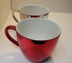 Lot of 2  2007 Starbucks  16oz Metallic Coffee Tea Mug Cup Silver winter... - $21.78