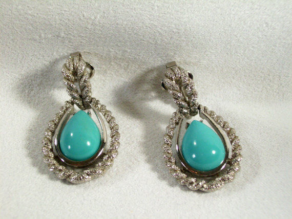 AVON Faux TURQUOISE Tear Drop Clip Earrings FROSTY SILVER Plated ROPE Vintage