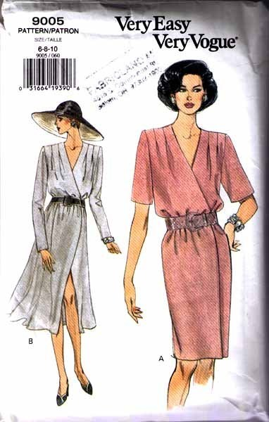 1994 Misses' WRAP DRESS Vogue Pattern 9005-v Sizes 6-8-10