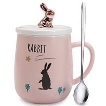 Sunddo Rabbit Mug Cute Bunny Coffee Mugs Funny Ceramic Tea Cups with Lid... - $15.02