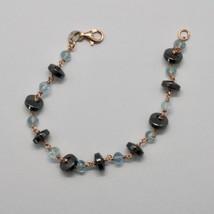 Bracelet en Argent 925 avec Aigue-Marine à Facettes Hématite Made IN Italy - $100.33