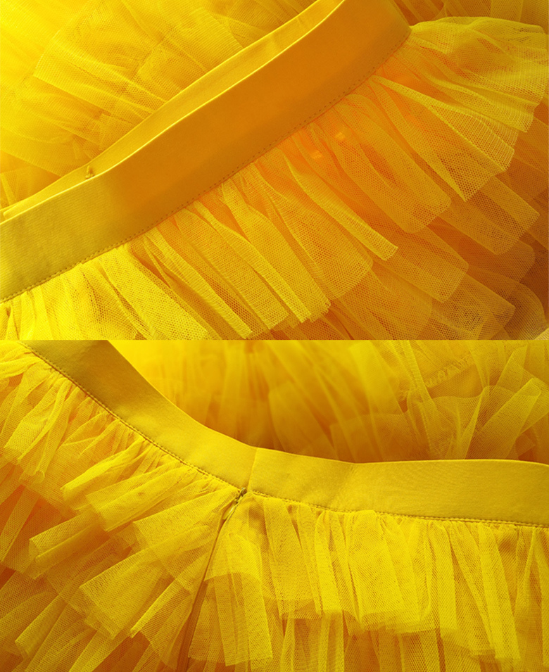 Tiered tulle skirt wedding party skirt yellow 9