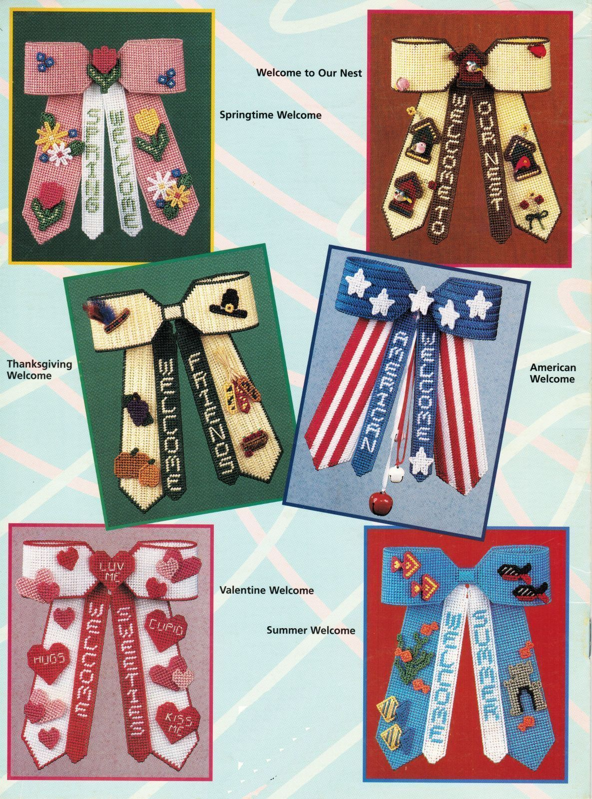 Primary image for 7 Plastic Canvas Xmas Thanksgiving Patriotic Valentine Bow Door Decor Patterns