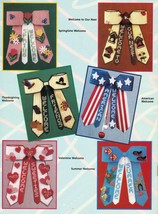 7 Plastic Canvas Xmas Thanksgiving Patriotic Valentine Bow Door Decor Patterns - $13.99