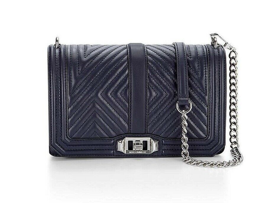 Primary image for NWT Rebecca Minkoff Chevron Geo Love Quilted Leather Crossbody Bag NAVY BLUE