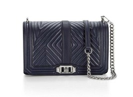 NWT Rebecca Minkoff Chevron Geo Love Quilted Leather Crossbody Bag NAVY ... - $218.00