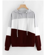 Hoodie 3 Block Colors Gray/White/Burgundy Hoodie size M and size XL - $16.50