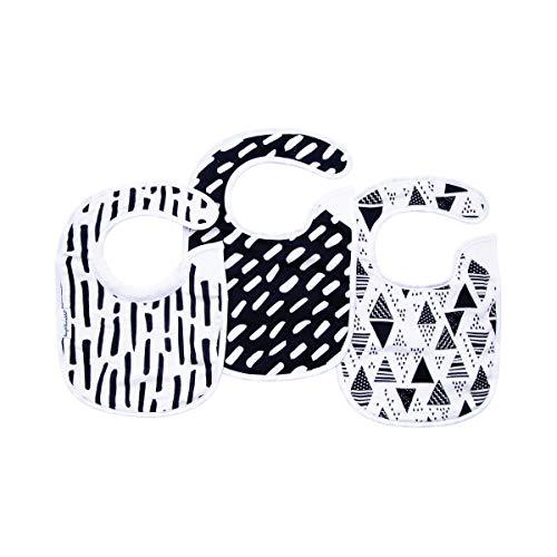 Tiny Twinkle Feeder Bib 3 Pack - Black and White Set - Absorbent and Waterproof