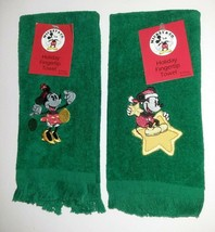 Vintage Disney Mickey Mouse Minnie Mouse Fingertip Towel Set NEW Christm... - $14.85