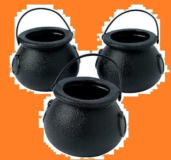 Small Black Candy Cauldron Buckets (12 Count)