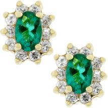 Emerald Flower Stud Earrings - $20.00