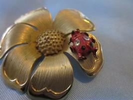 Vintage BEAU JEWELS gold color,enamel flower w/ ladybug pinSigned & Numb... - $24.00