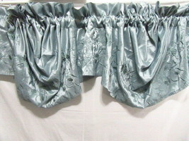 American Living Duchess Embroidered Floral Blue 2-PC 108 x 31 Scalloped ... - $48.00