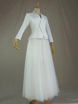 WHITE Tulle Midi Skirt A Line High Waisted Tulle Skirt Wedding Skirt image 12