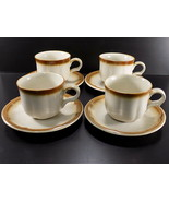 Vintage PROVINCIAL by MIKASA STONEWARE Whole Wheat COFFEE CUP & SAUCER Set of 4 - $9.89