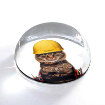 """Construction Kitty Cat Photograph Art Gift 2"""" Crystal Dome Magnet or Pap... - $15.99"""