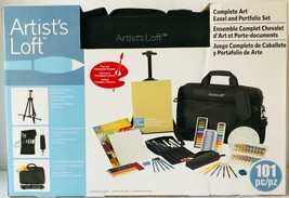Artist's Loft Complete Art Easel & Portfolio 101 pc Set Paints Paper Bru... - $67.72